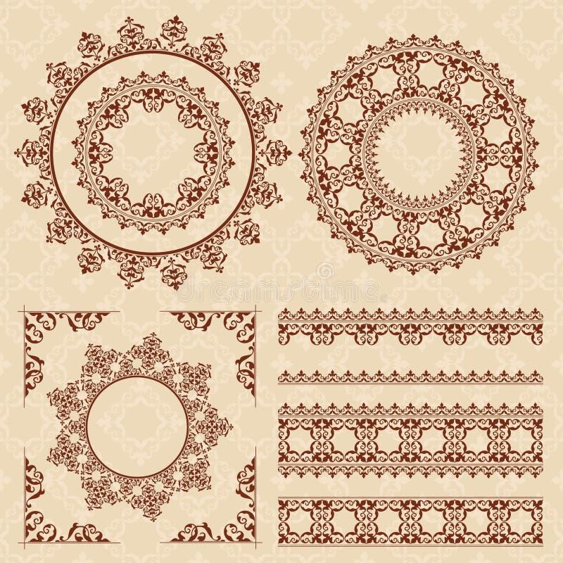 Bruna tappningprydnader och ramar vektor illustrationer