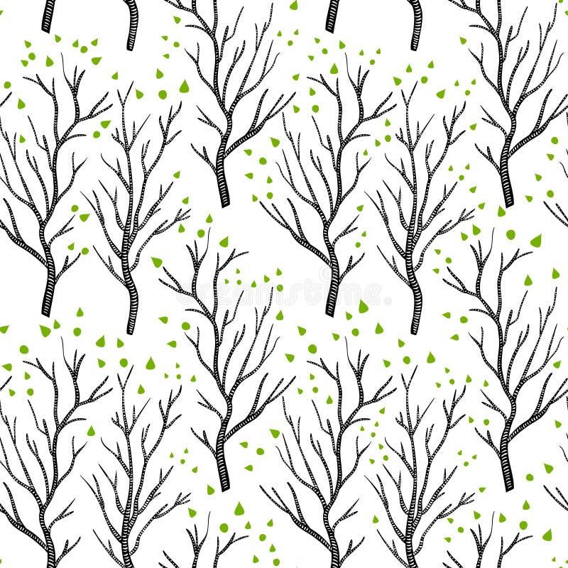 Bruna träd för björk eller för asp i vår med små gräsplansidor på den vita sömlösa modellen, vektor vektor illustrationer