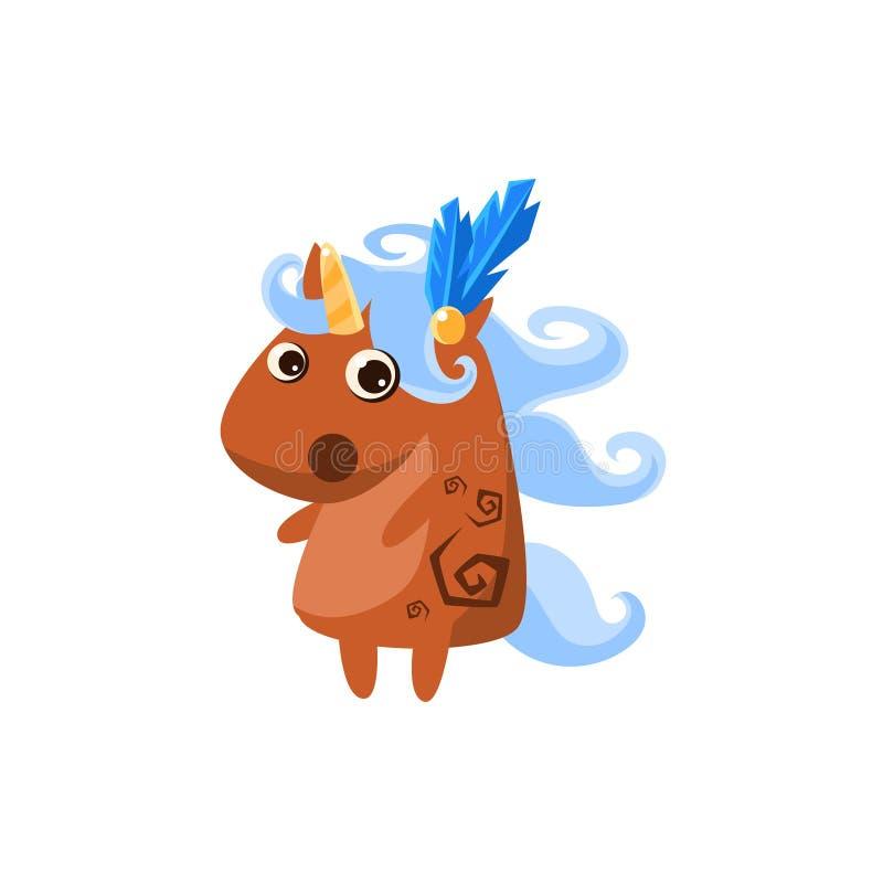 Bruna Unicorn With Feather In Hair royaltyfri illustrationer