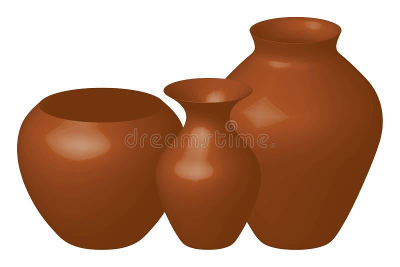 bruna vases royaltyfri illustrationer