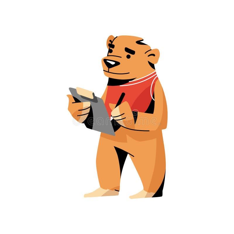 Brunbjörn i röd kläder som skriver på kontrollpappersbrädet vektor illustrationer