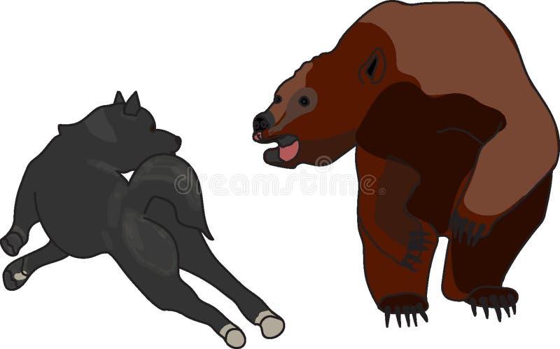 brunbjörn och hund royaltyfri foto