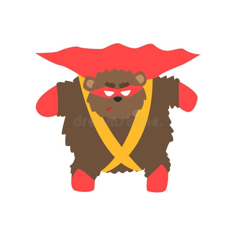 Brunbjörndjur som kläs som Superhero med tecken för vigilante för udde ett komiker maskerat geometriskt stock illustrationer