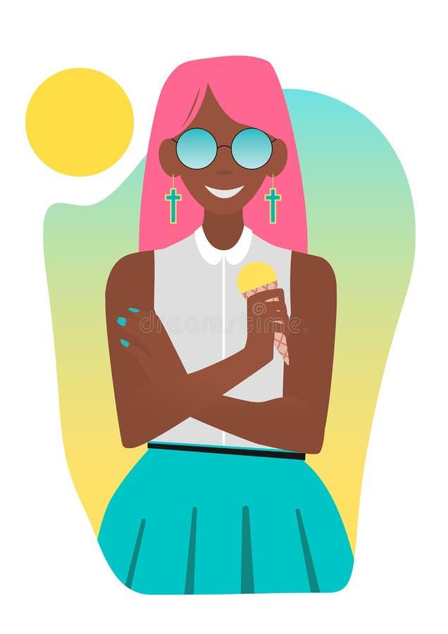 Brunbränd flicka som äter glass vektor illustrationer