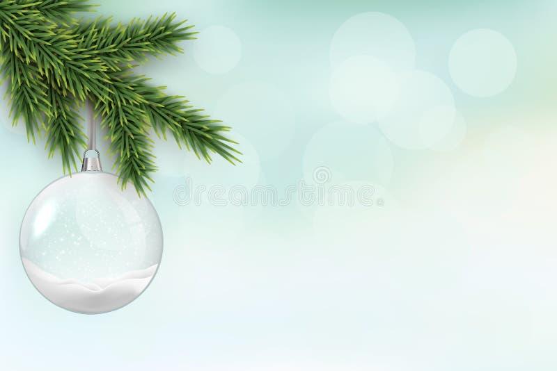 Brunch del árbol de navidad con la bola de cristal de la Navidad en fondo borroso de las vacaciones de invierno La Navidad del ve stock de ilustración