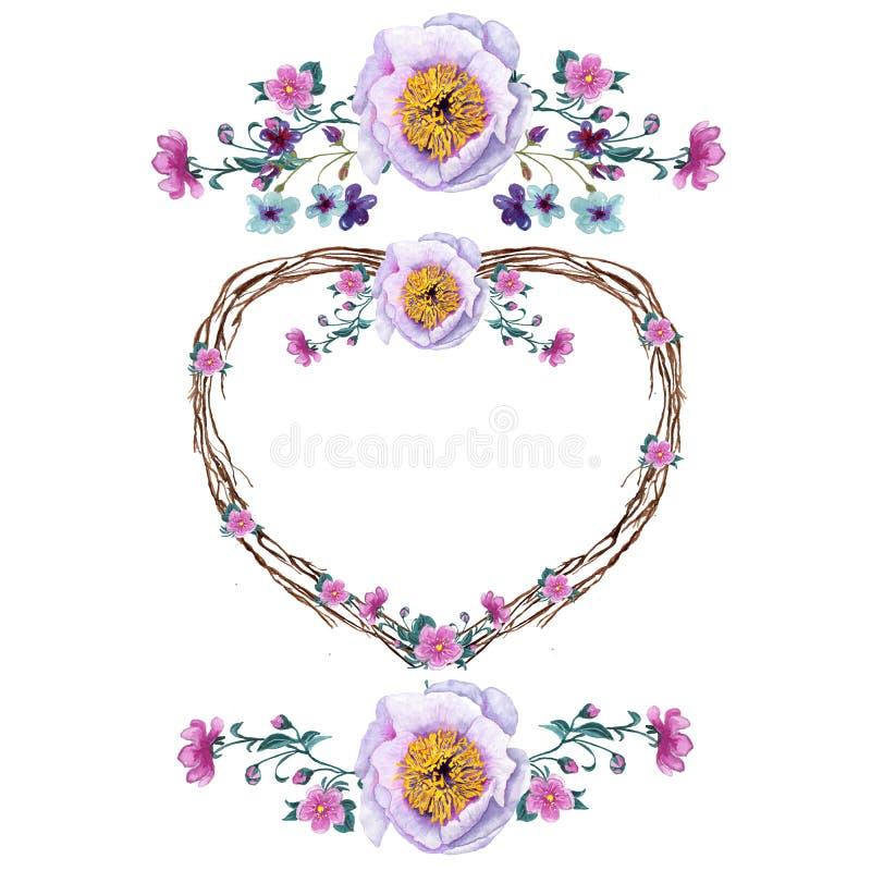 Brunch e petali romantici delle rose di spirito del mazzo dell'acquerello royalty illustrazione gratis