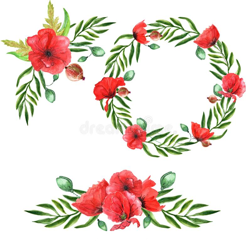 Brunch e petali romantici delle rose di spirito del mazzo dell'acquerello illustrazione di stock