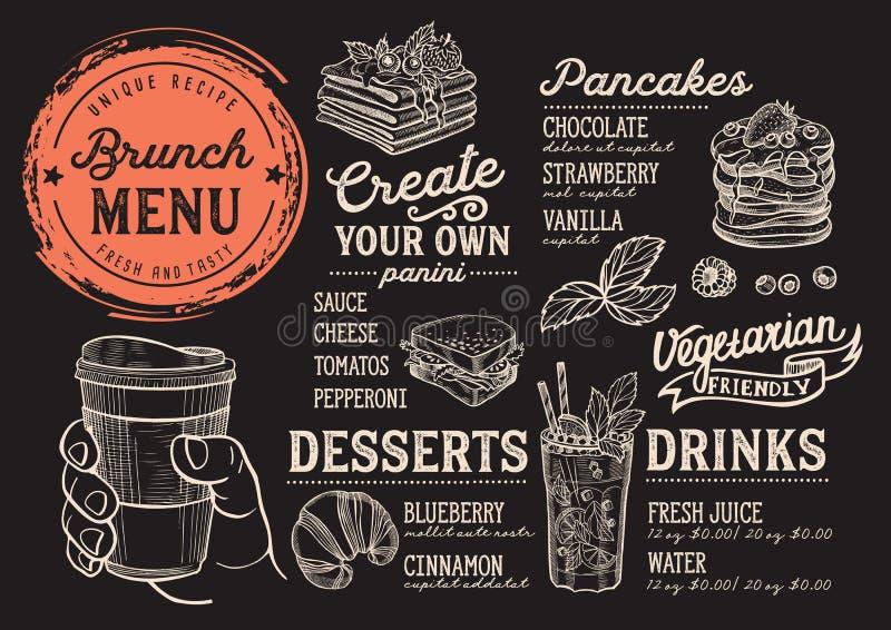 Brunch menu restaurant, food template. Brunch restaurant menu. Vector food flyer for bar and cafe. Design template with vintage hand-drawn illustrations royalty free illustration