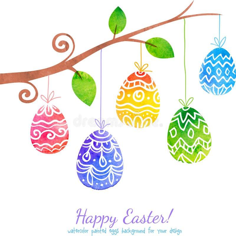 Brunch pintado acuarela con los huevos de Pascua ilustración del vector