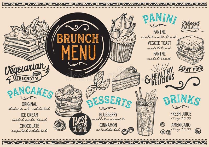 Brunch menu restaurant, food template. Brunch restaurant menu. Vector food flyer for bar and cafe. Design template with vintage hand-drawn illustrations stock illustration