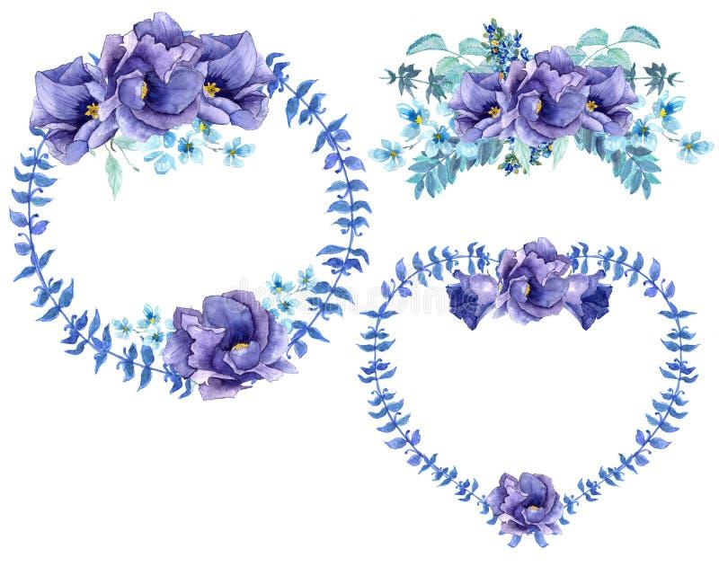 Brunches y pétalos románticos de las rosas del ingenio del ramo de la acuarela ilustración del vector