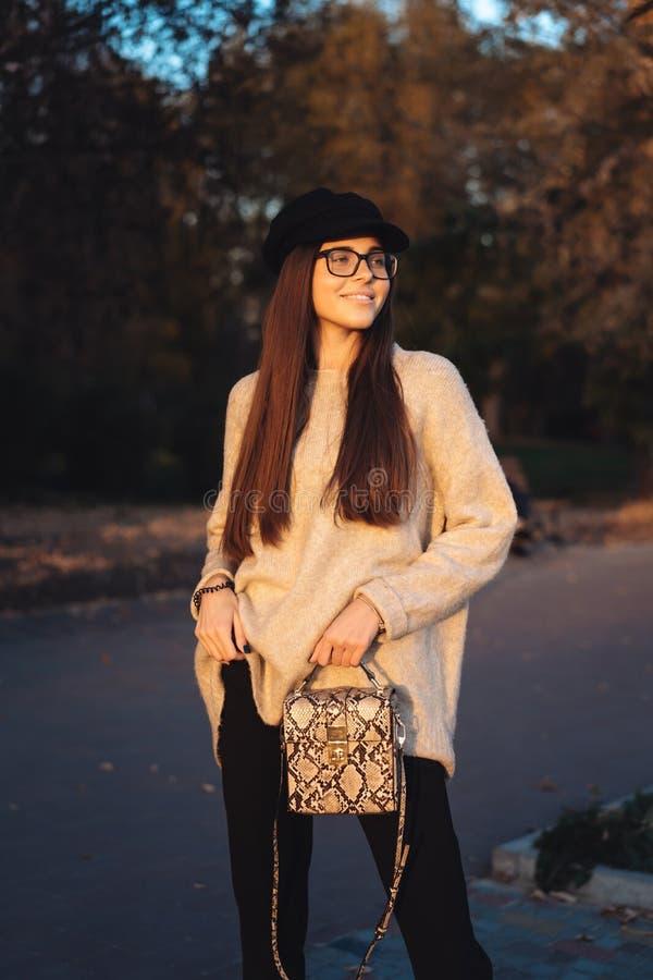 Brune attrayante et jeune avec le sac à main posant pour la caméra images libres de droits