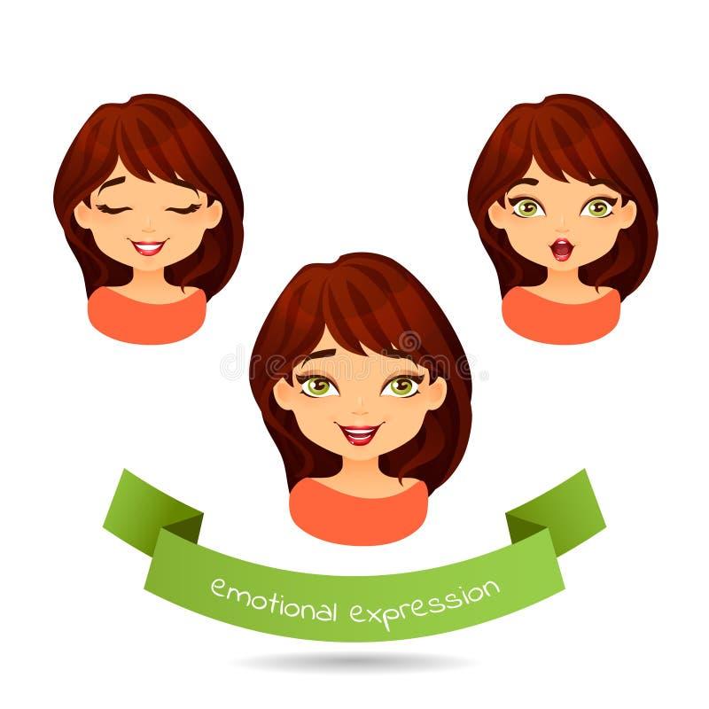 Brune aux yeux verts mignonne avec différentes expressions du visage illustration stock