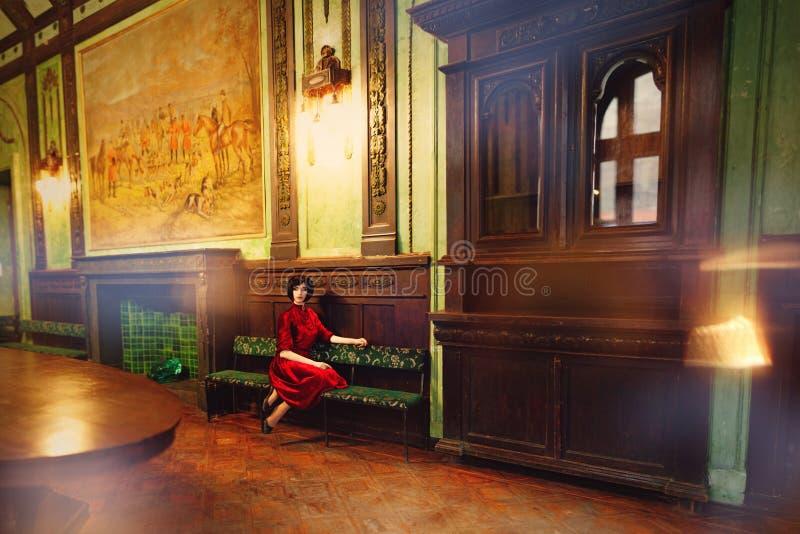 Brune de Madame dans l'intérieur riche du vieux château photo stock