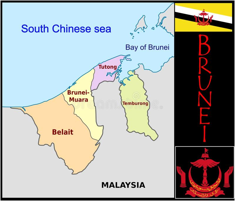 Brunei Administrative Divisions Stock Illustration Illustration of