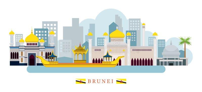 Brunei gränsmärkehorisont stock illustrationer