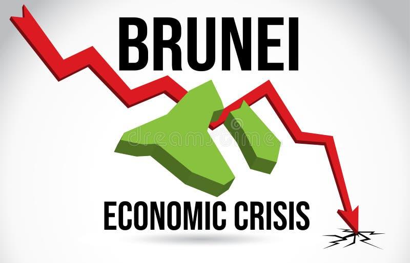 Brunei Map Financial Crisis Economic Collapse Market Crash Global Meltdown Vector. Illustration royalty free illustration