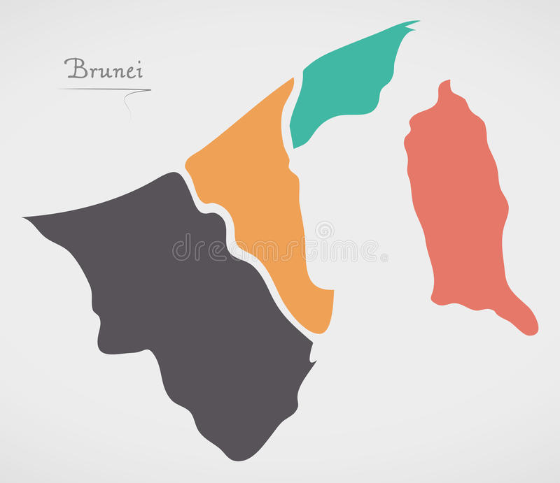 Brunei Map with states and modern round shapes. Illustration stock illustration