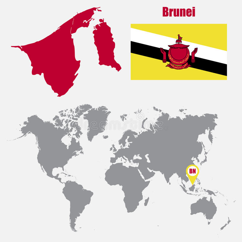 Brunei map on a world map with flag and map pointer vector download brunei map on a world map with flag and map pointer vector illustration stock gumiabroncs Image collections