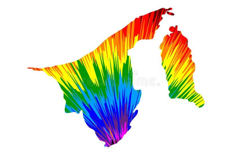 Brunei - mapa jest projektującym tęczy abstrakcjonistycznym kolorowym wzorem, naród Brunei dom robić koloru wybuch pokój mapa royalty ilustracja