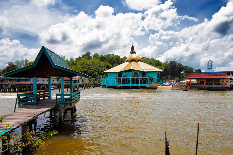 Brunei's famed water village. S are fully self sufficient, with their own mosques, schools, shops, piped water, electricity and satellite TV. For transportation stock image