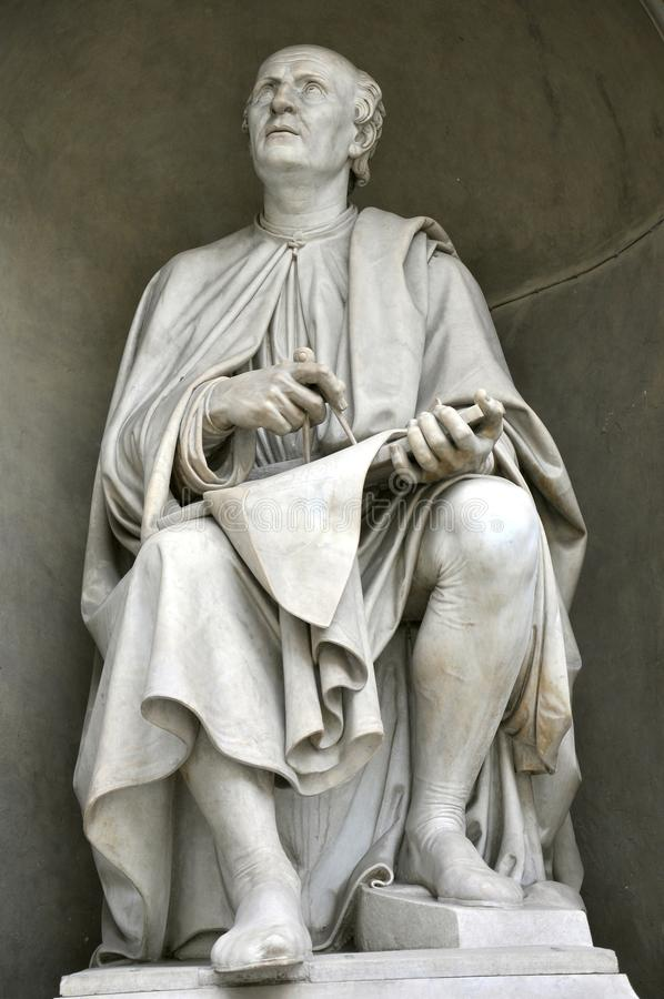 Brunelleschi statue in Florence city, Italy royalty free stock photos
