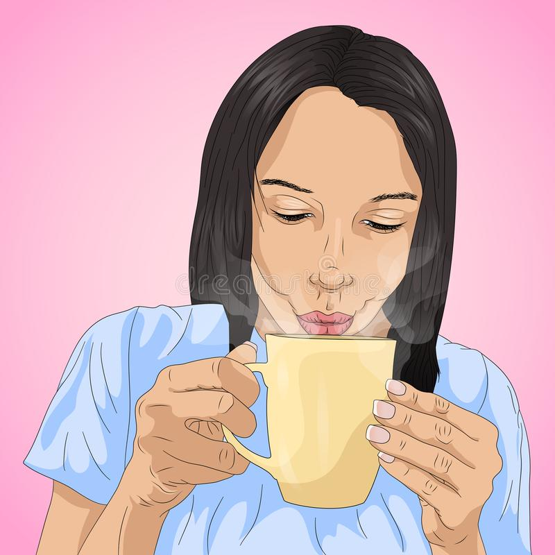 A girl drinking hot liquid royalty free stock image