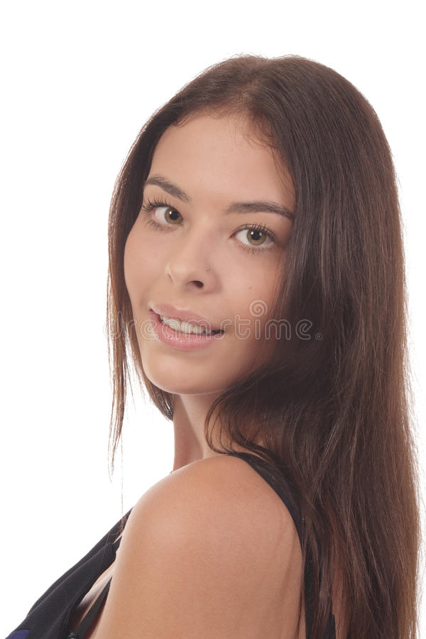 Brunet smiling looking stock image