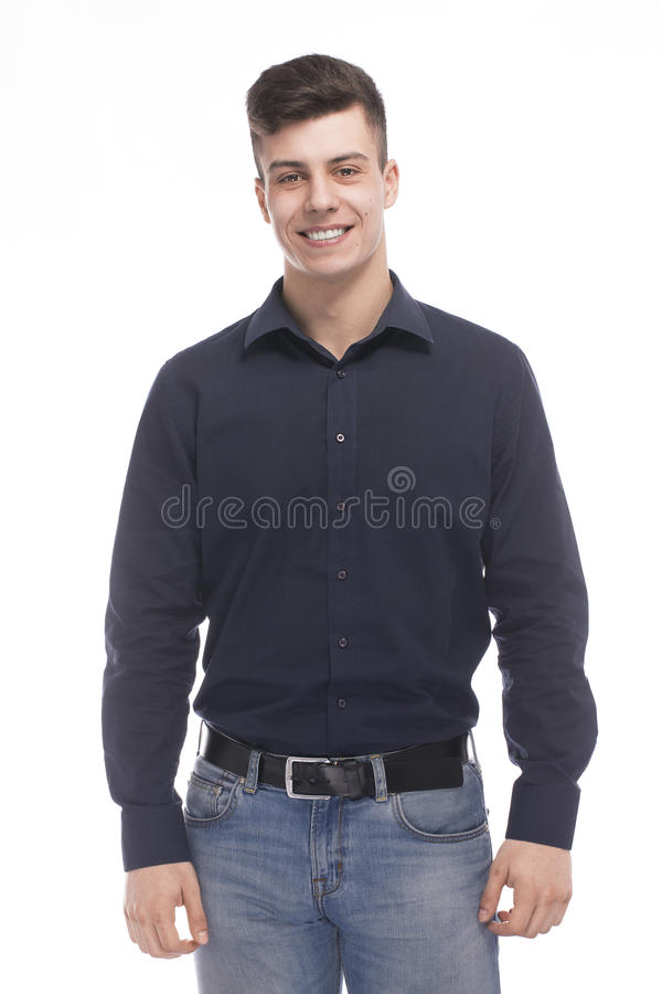 Brunetka mężczyzna na białym tle fotografia royalty free