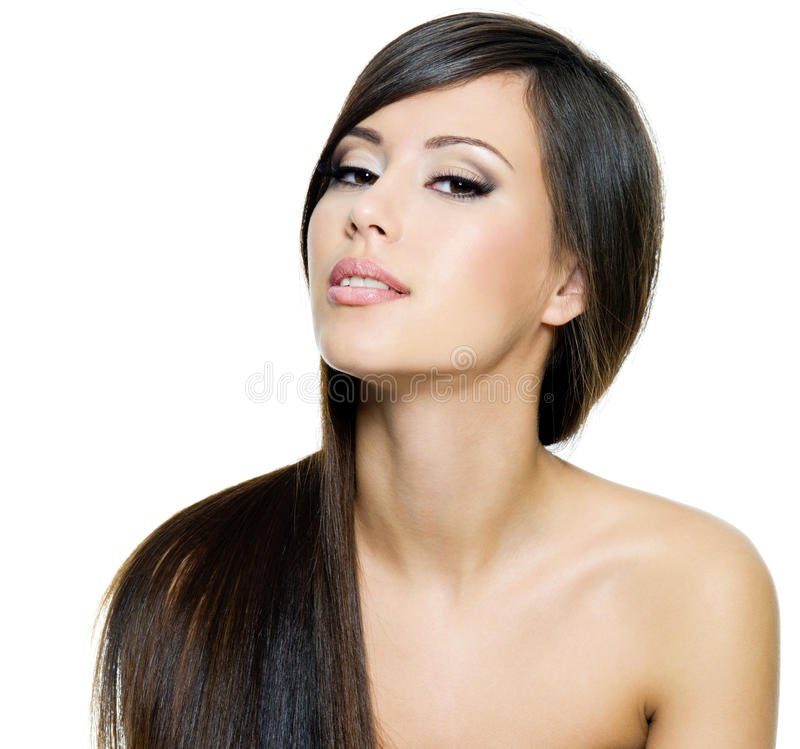 brunetka piękni włosy tęsk prosta kobieta zdjęcia stock