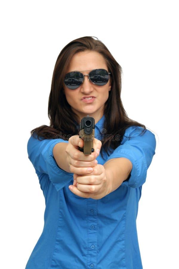 brunetka piękny pistolecik obrazy royalty free