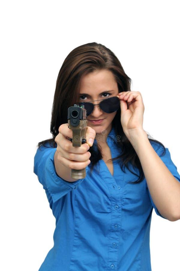brunetka piękny pistolecik zdjęcia stock