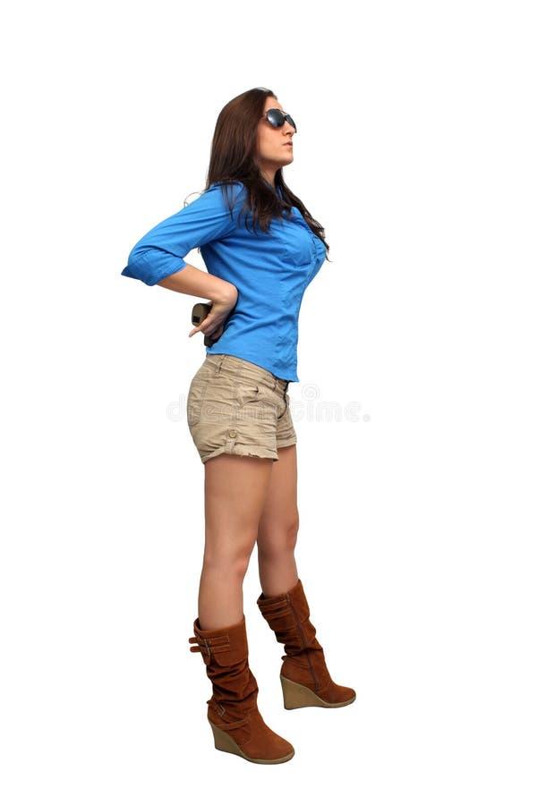 brunetka piękny pistolecik zdjęcie royalty free