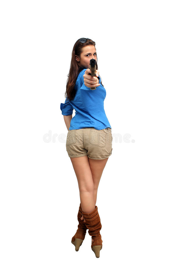 brunetka piękny pistolecik zdjęcia royalty free