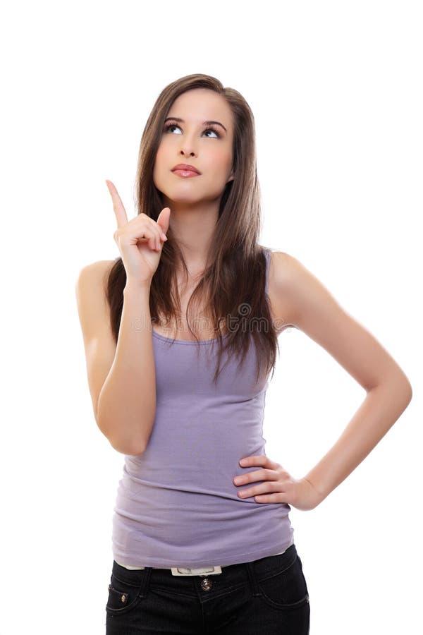 brunetka target1285_0_ w górę kobiety potomstw obrazy royalty free