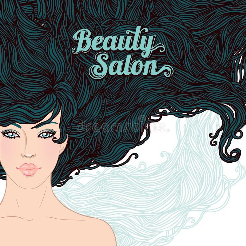brunetka włosy tęsk kobieta royalty ilustracja