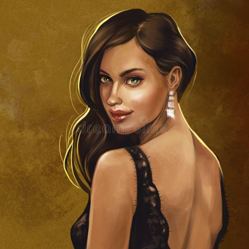 Brunetka w czerni koronki sukni royalty ilustracja