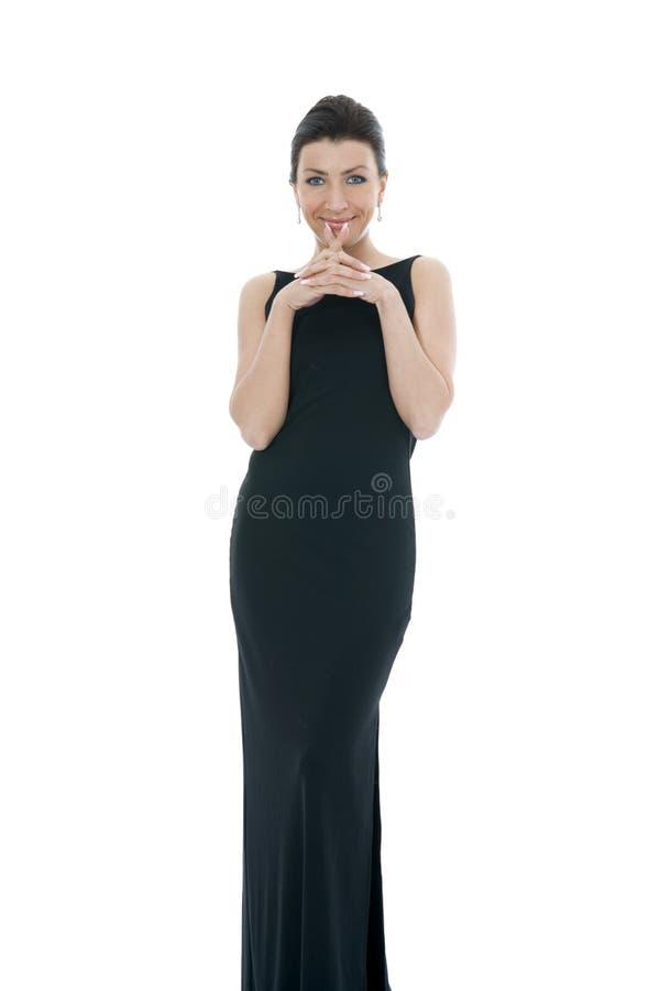 brunetka wieczorem sukienka portret obrazy royalty free