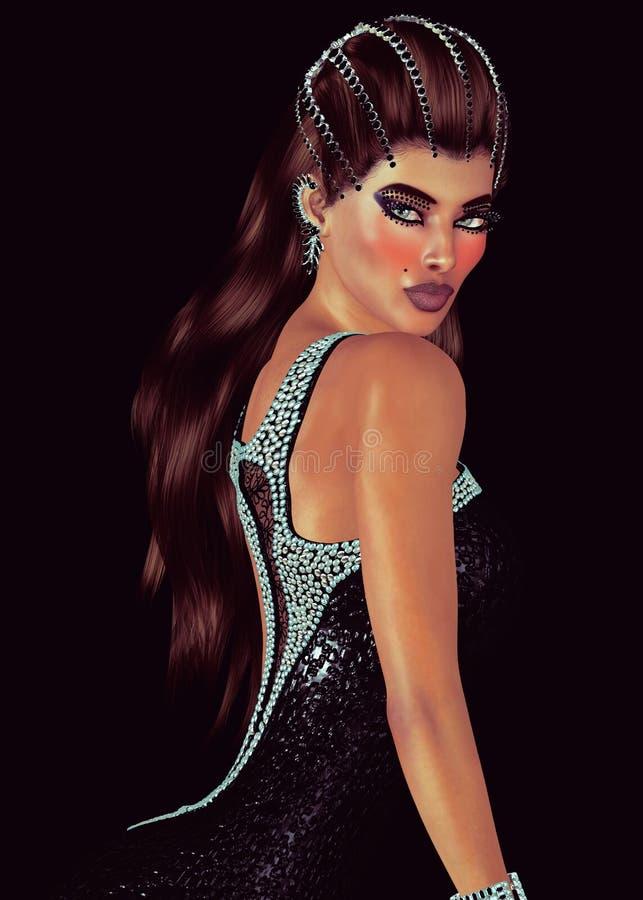 Brunetka z karową i czarną onyksową tiarą z dopasowywanie suknią obraz stock