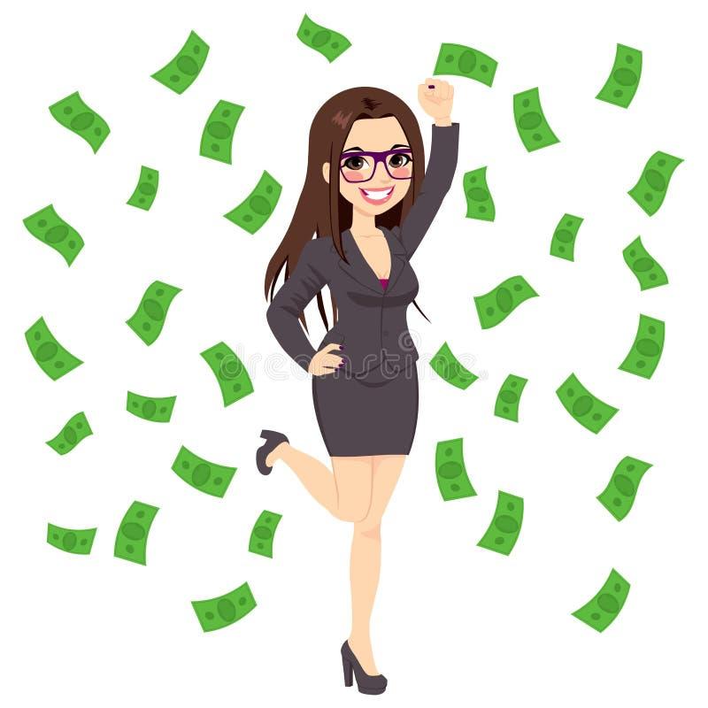 Brunetki Bogata Pomyślna Biznesowa kobieta ilustracji