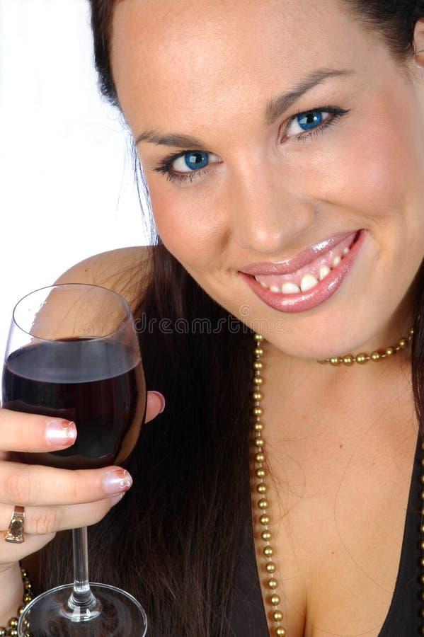 brunetki czerwone wino zdjęcie stock