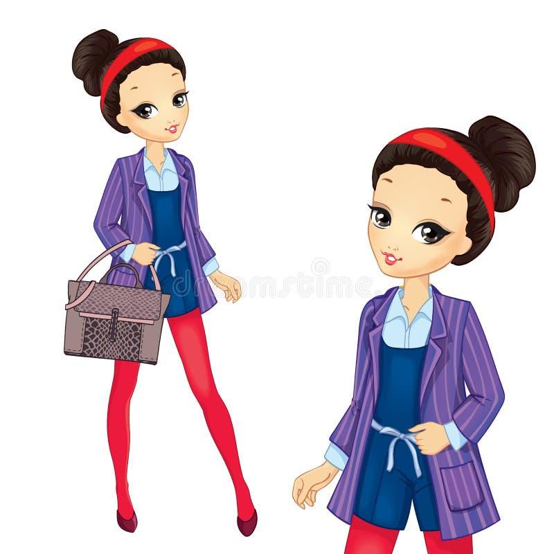 Brunetki dziewczyna W Czerwonych rajstopy royalty ilustracja