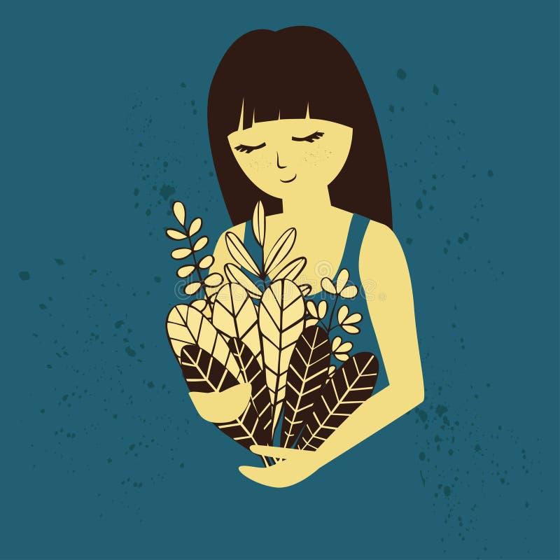 Brunetki dziewczyna z kwiecistym bukietem royalty ilustracja