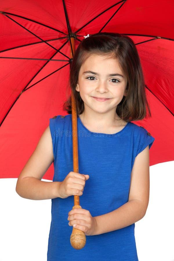 brunetki dziewczyny mały czerwony parasol zdjęcia royalty free