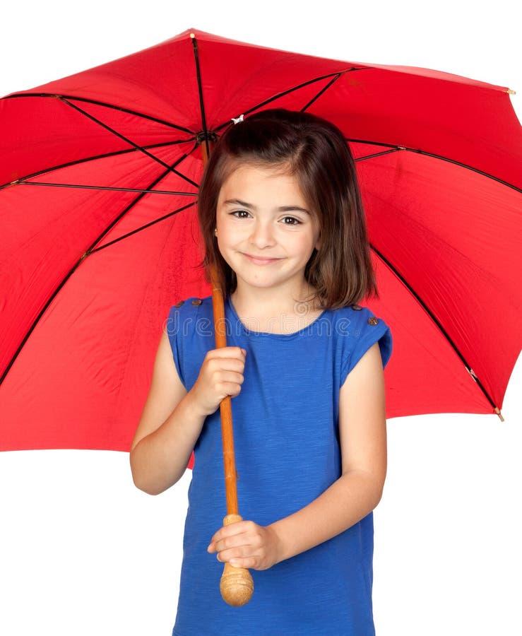 brunetki dziewczyny mały czerwony parasol zdjęcie stock
