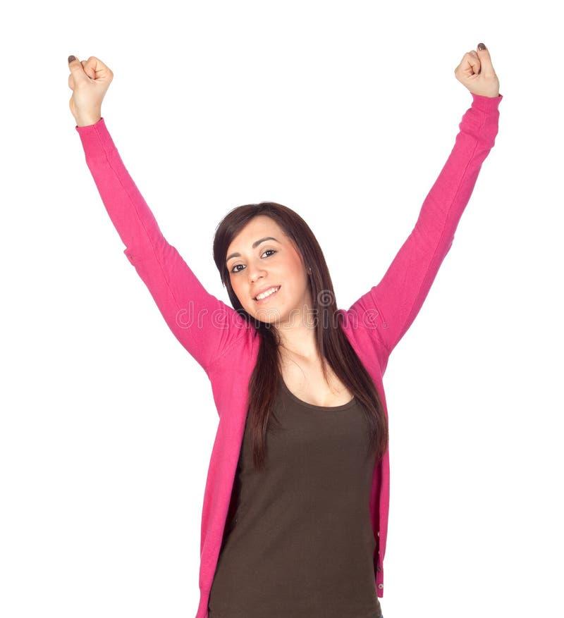 brunetki dziewczyny zwycięzca obraz stock