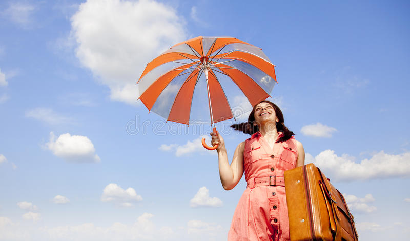 brunetki enchantress walizki parasol zdjęcia royalty free