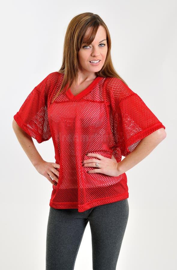 brunetki futbolowej dżersejowej siatki czerwona seksowna kobieta zdjęcie stock