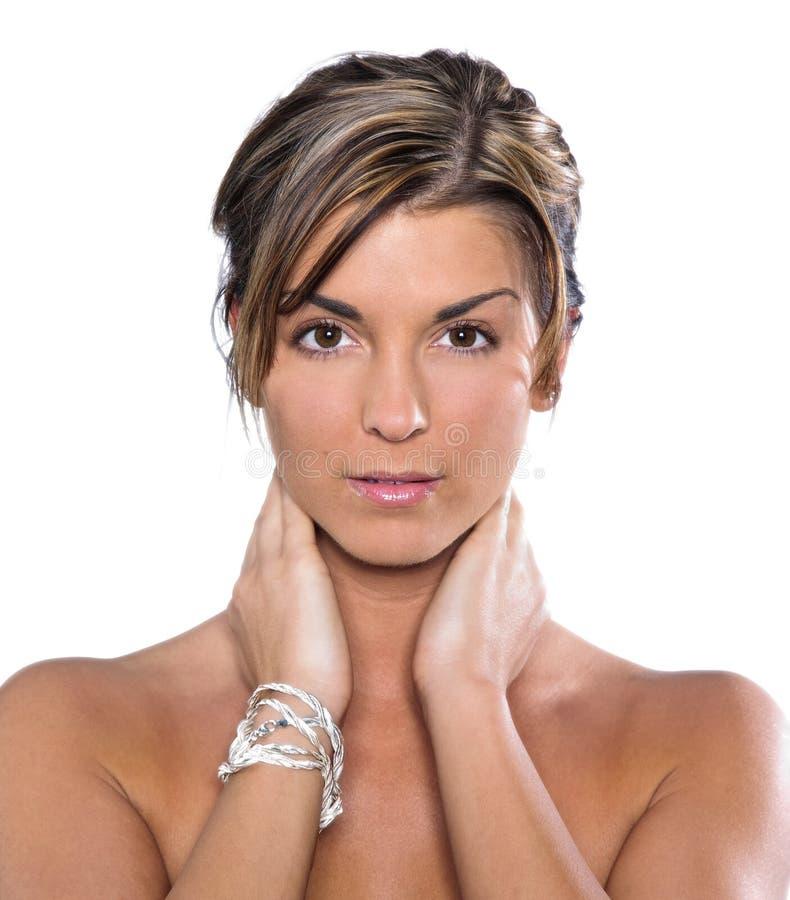 brunetki headshot model fotografia stock