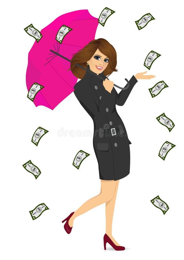 Brunetki kobieta trzyma dużego purpurowego parasol royalty ilustracja
